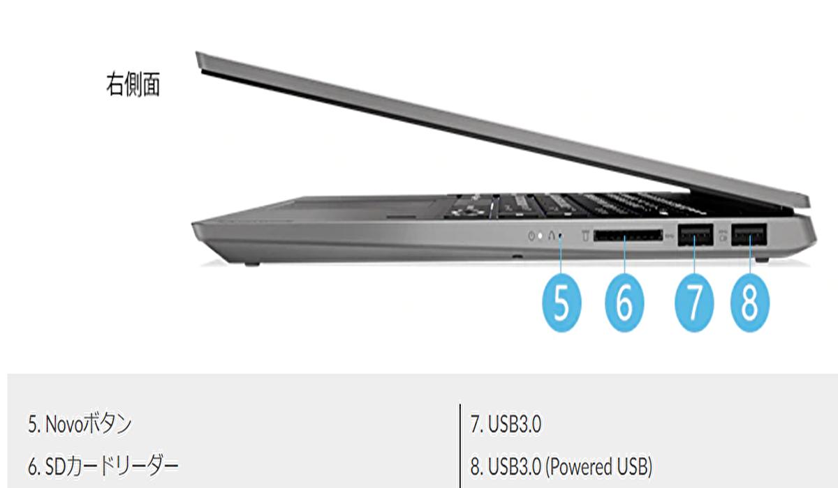 Lenovo IdeaPad(14)S540右側面